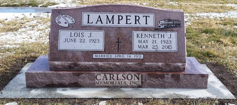 S020: Colorado Rose Red Custom Designed Slant Headstone for the Lampert Family