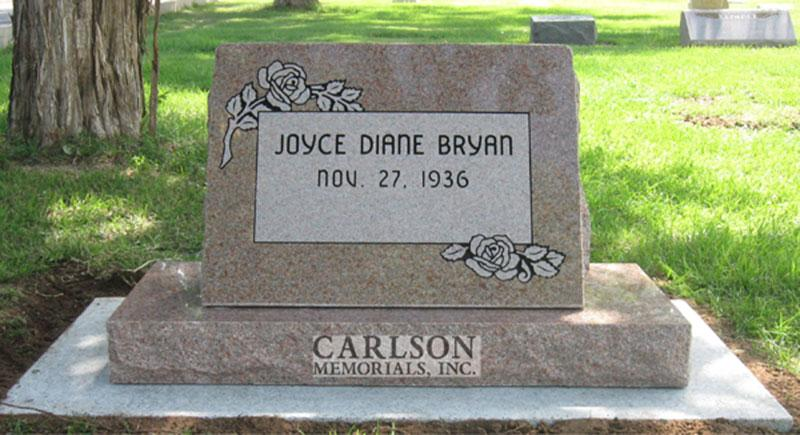 S022: Morning Rose Custom Designed Slant Headstone for the Bryan Family