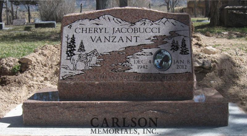 S023: Morning Rose Custom Designed Slant Headstone for the Vanzant Family