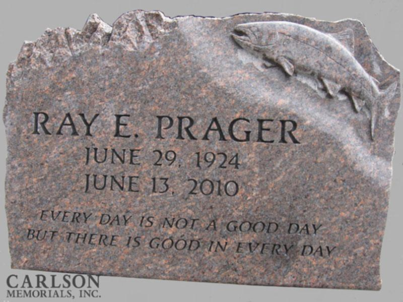 S024: Natural Mahogany Custom Designed Slant Headstone for the Prager Family