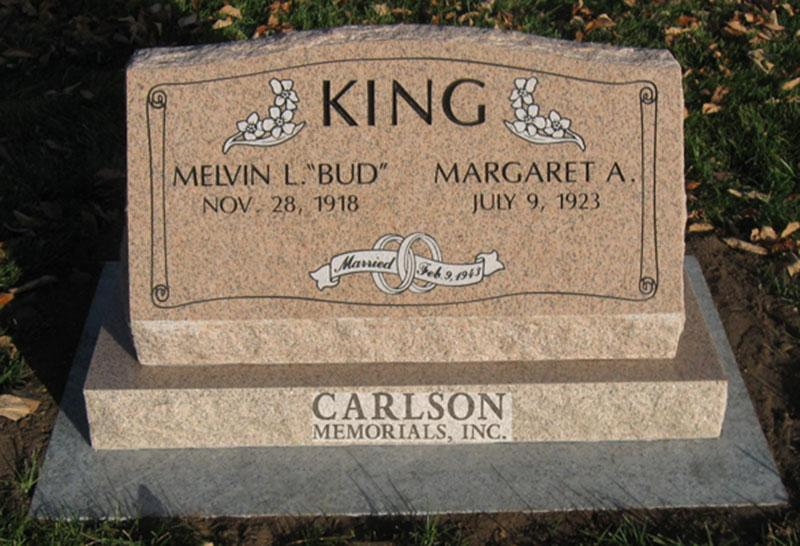 S025: Salisbury Pink Custom Designed Slant Headstone for the King Family