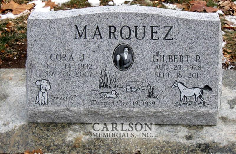 S026: Sierra White Custom Designed Slant Headstone for the Marquez Family