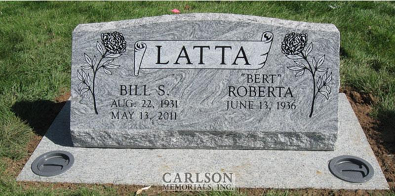 S027: Silver Cloud Custom Designed Slant Headstone for the Latta Family