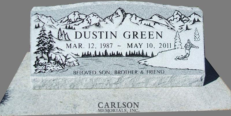 S029: Bluestone Custom Designed Slant Headstone for the Green Family