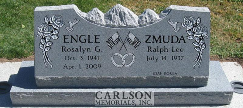 S031: Bluestone Custom Designed Slant Headstone for Rosalyn and Ralph