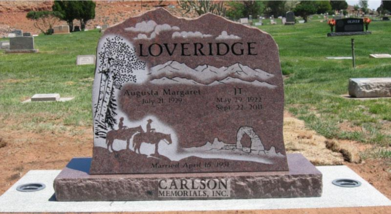 S033: Colorado Rose Red Custom Designed Slant Headstone for the Loveridge Family