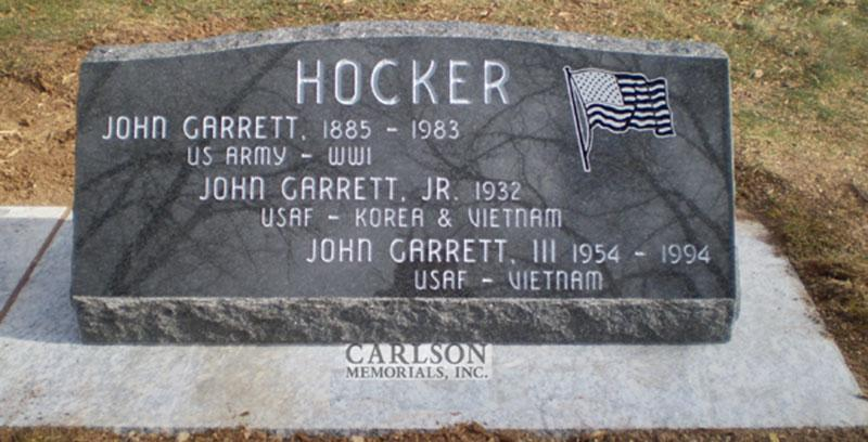 S035: Flash Black Custom Designed Slant Headstone for the Hocker Family