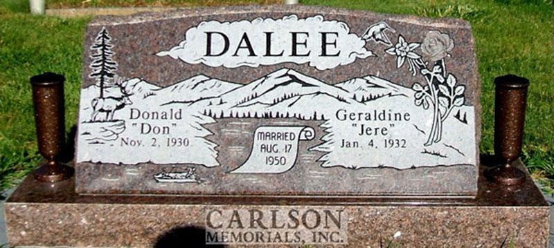 S038: Mahogany Custom Designed Slant Headstone for the Dalee Family