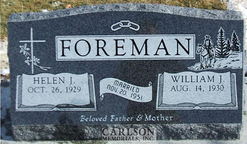 S040: Academy Black Custom Designed Slant Headstone for the Foreman Family