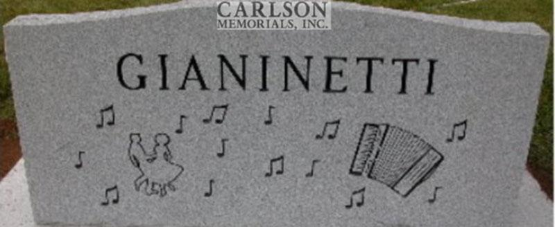 S041A: Back of Bluestone Custom Designed Slant Headstone for the Gianinetti Family