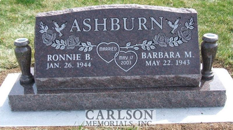 S042: Mahogany Custom Designed Slant Headstone for the Ashburn Family