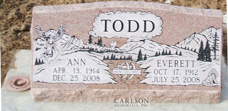 S046: Morning Rose Custom Designed Slant Headstone for the Todd Family