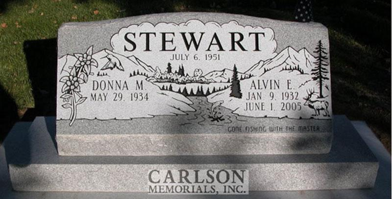 S048: Bluestone Custom Designed Slant Headstone for the Stewart Family