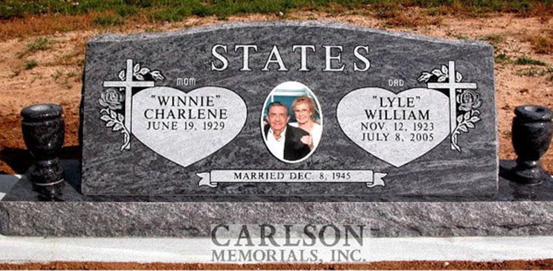 S049: Bahama Blue Custom Designed Slant Headstone for the States Family