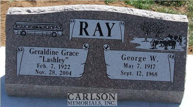 S050: Autumn Rose Custom Designed Slant Headstone for the Ray Family