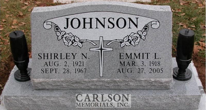 S052: Bluestone Custom Designed Slant Headstone for the Johnson Family