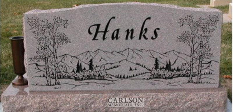S053A: Back of Colonial Rose Custom Designed Slant Headstone for the Hanks Family