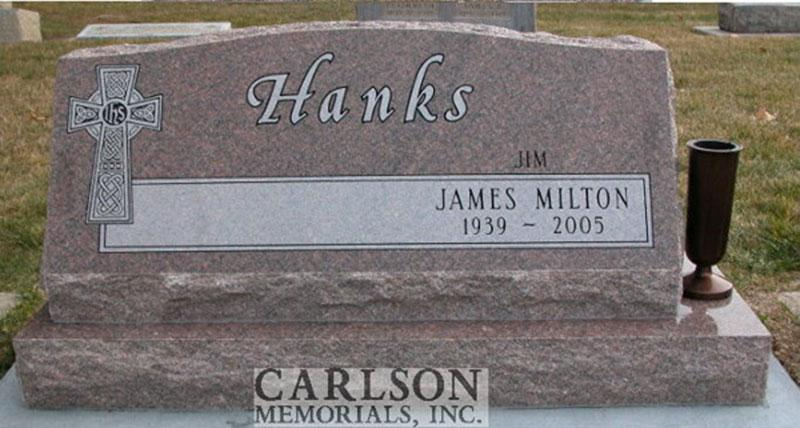 S053: Colonial Rose Custom Designed Slant Headstone for the Hanks Family