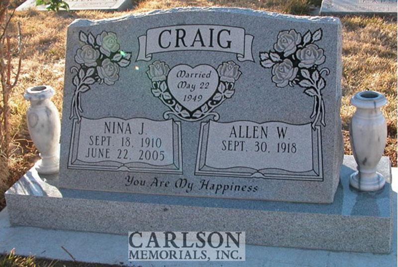 S055: Bluestone Custom Designed Slant Headstone for the Craig Family