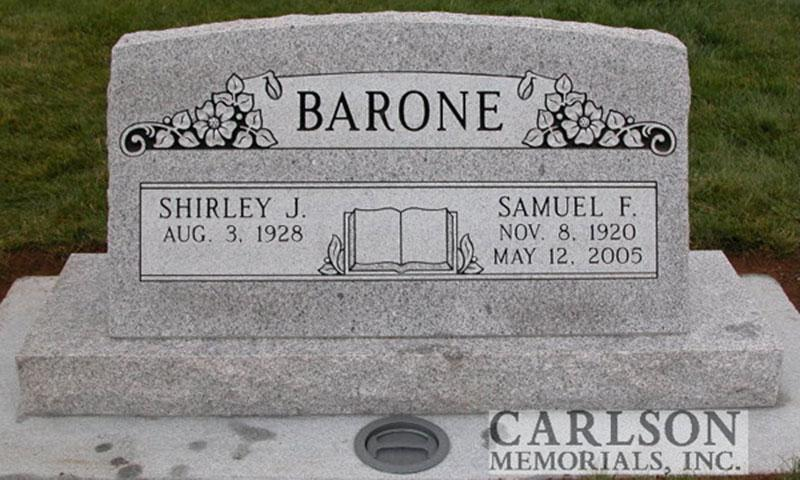 S056: Sierra White Custom Designed Slant Headstone for the Barone Family
