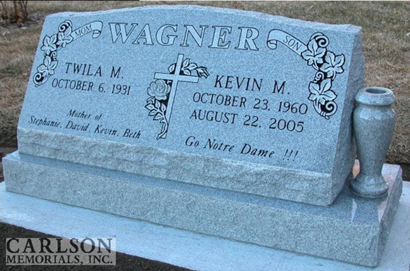 S057: Bluestone Custom Designed Slant Headstone for the Wagner Family