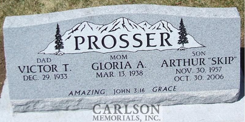 S058: Bluestone Custom Designed Slant Headstone for the Prosser Family