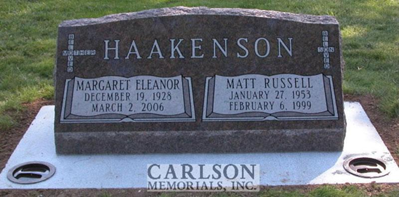 S060: Mahogany Custom Designed Slant Headstone for the Haakenson Family