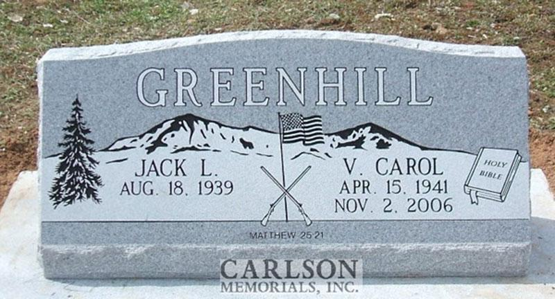 S061: Bluestone Custom Designed Slant Headstone for the Greenhill Family
