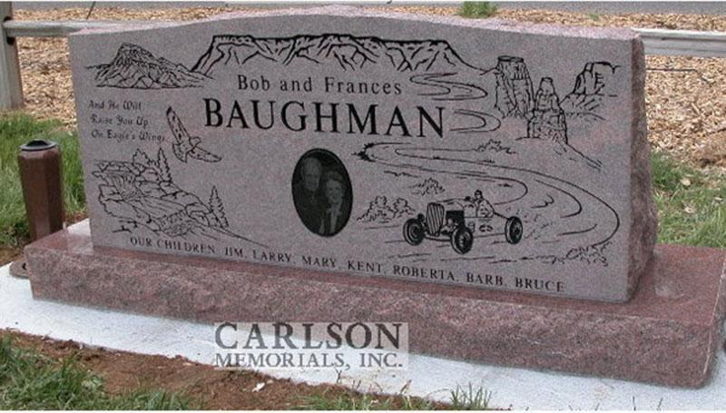 S064A: Back of Colorado Rose Red Custom Designed Slant Headstone for the Baughman Family