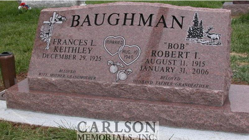 S064: Colorado Rose Red Custom Designed Slant Headstone for the Baughman Family