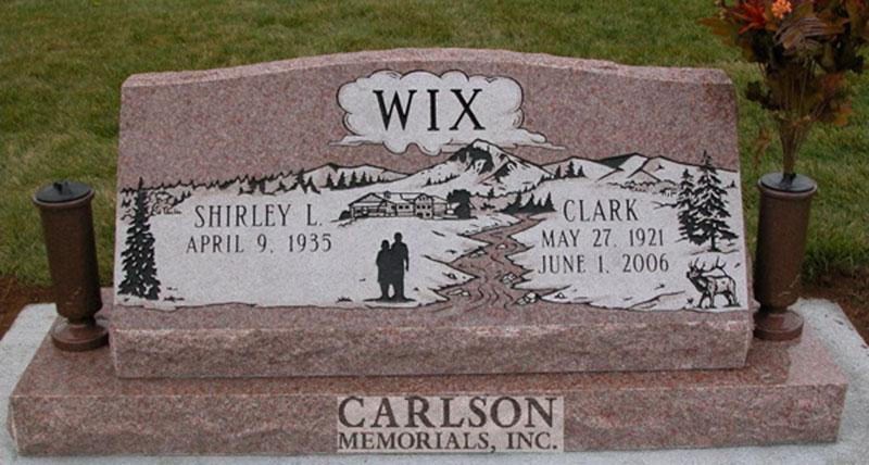 S065: Morning Rose Custom Designed Slant Headstone for the Wix Family