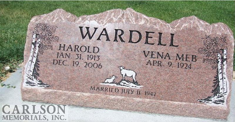 S066: Colorado Rose Red Custom Designed Slant Headstone for the Wardell Family