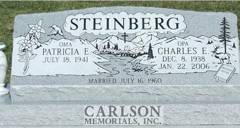 S067: Bluestone Custom Designed Slant Headstone for the Steinberg Family