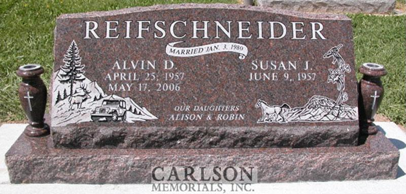 S069: Mahogany Custom Designed Slant Headstone for the Reifschneider Family