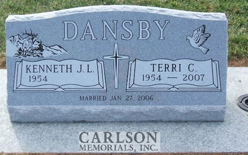 S071: Bluestone Custom Designed Slant Headstone for the Dansby Family