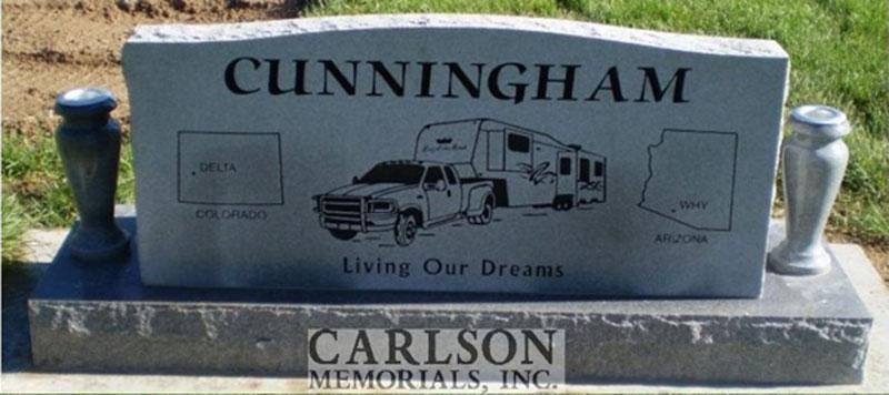 S072A: Back of Bluestone Custom Designed Slant Headstone for the Cunningham Family