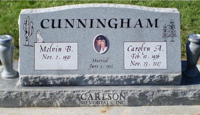 S072: Bluestone Custom Designed Slant Headstone for the Cunningham Family