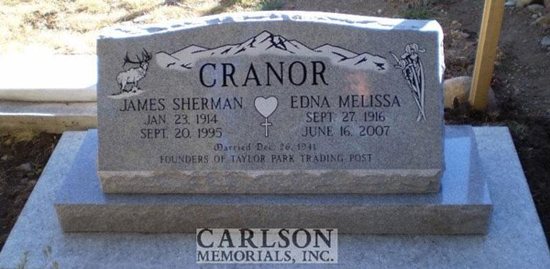 S073: Bluestone Custom Designed Slant Headstone for the Cranor Family