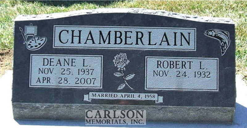 S074: French Creek Custom Designed Slant Headstone for the Chamberlain Family