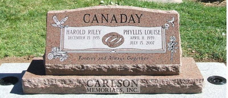 S075: Morning Rose Custom Designed Slant Headstone for the Canaday Family