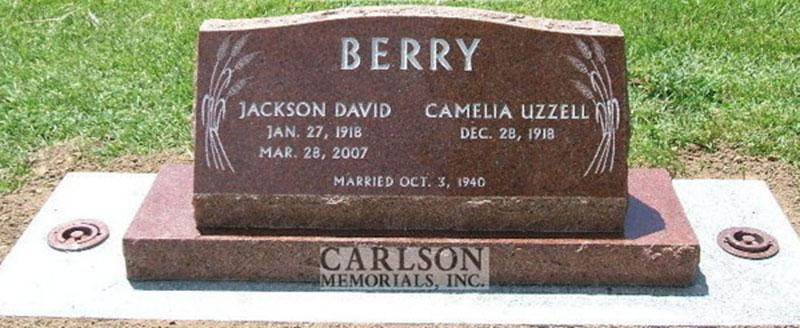 S076: Wausau Custom Designed Slant Headstone for the Berry Family