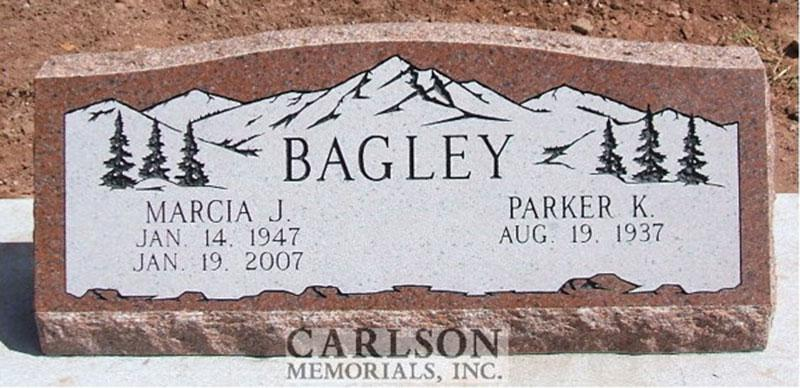 S077: Wausau Custom Designed Slant Headstone for the Bagley Family