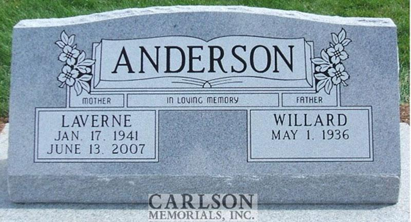 S078: Bluestone Custom Designed Slant Headstone for the Anderson Family