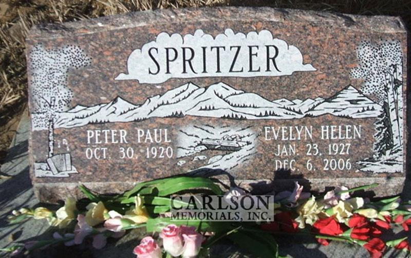 S080: American Bouqet Custom Designed Slant Headstone for the Spritzer Family