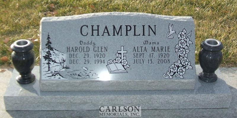 S081: Bluestone Custom Designed Slant Headstone for the Champlin Family