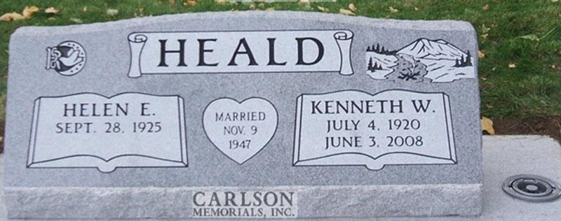 S082: Bluestone Custom Designed Slant Headstone for the Heald Family