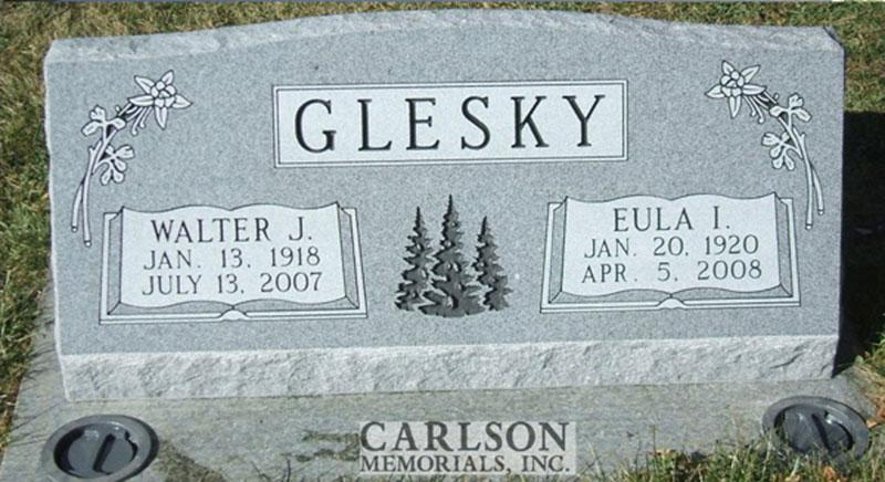 S083: Bluestone Custom Designed Slant Headstone for the Glesky Family