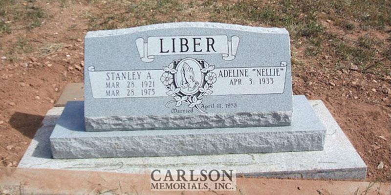 S084: Bluestone Custom Designed Slant Headstone for the Liber Family