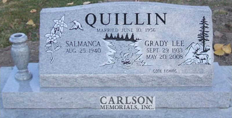 S085: Bluestone Custom Designed Slant Headstone for the Quillin Family