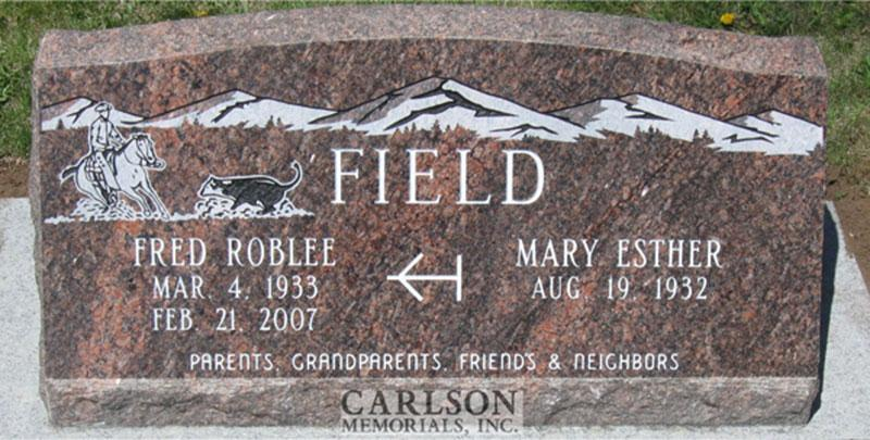 S086: American Bouquet Custom Designed Slant Headstone for the Field Family